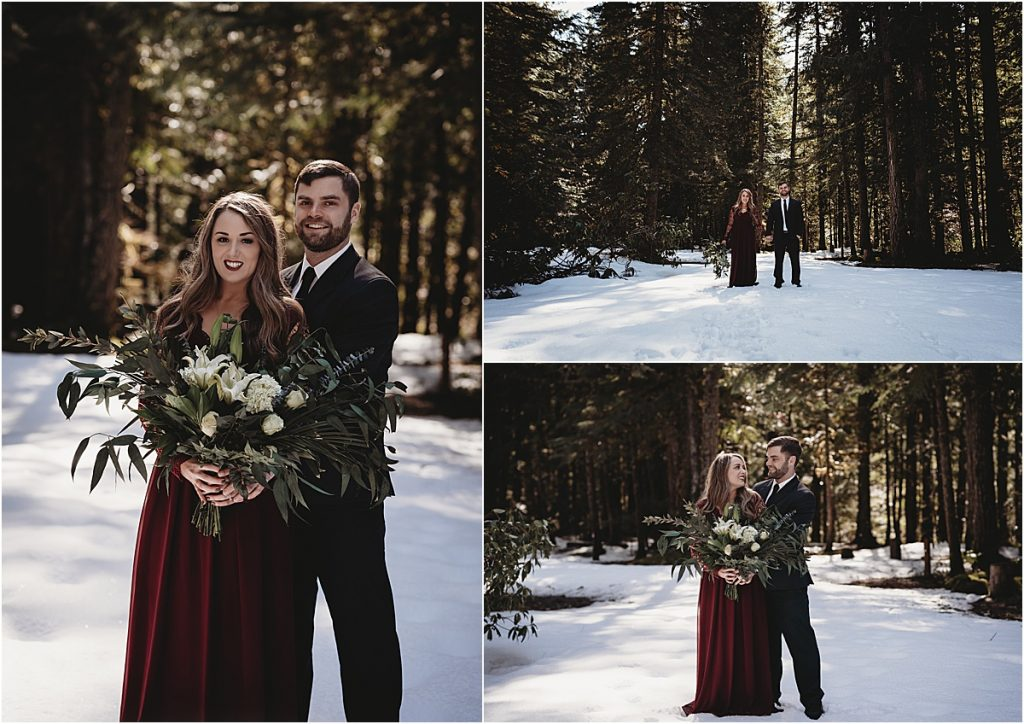snowy engagement photo session
