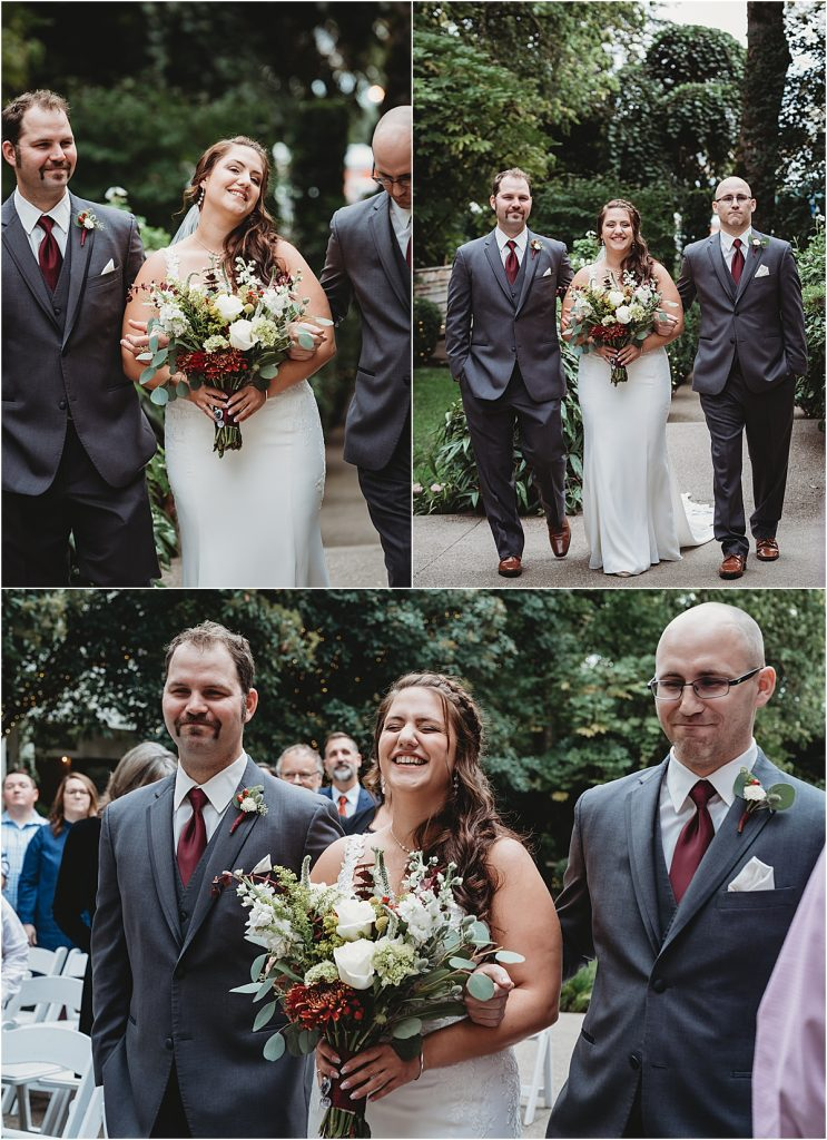 Brothers walking bride down aisle
