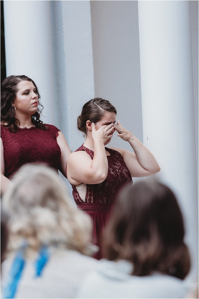 Matron of honor crying