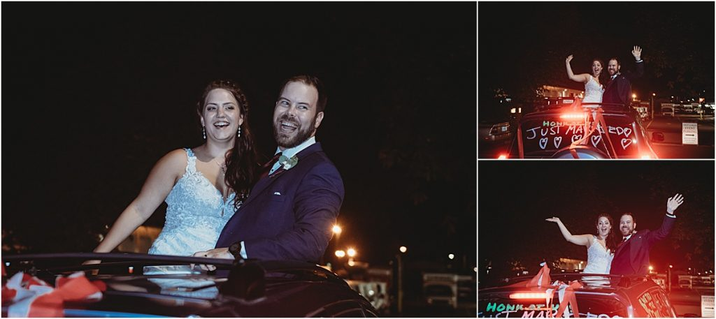 Car getaway wedding