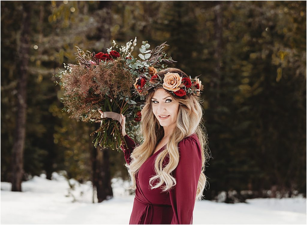 snowy elopement in mt hood