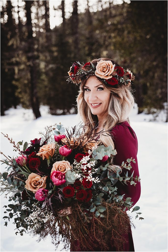 snowy elopement in mt hood