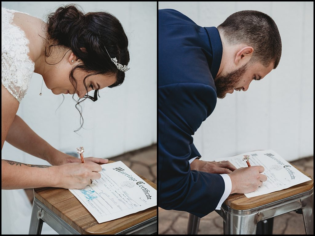 signing of marriage certificate